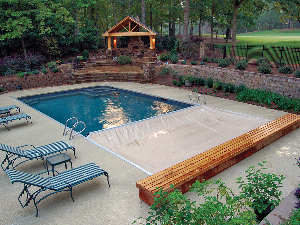 Existing Pools Can Be Covered Using Low Profile Deck Mounted Snaptop Tracks To Guide The Automatic Pool Cover Mechanism Either Recessed Below