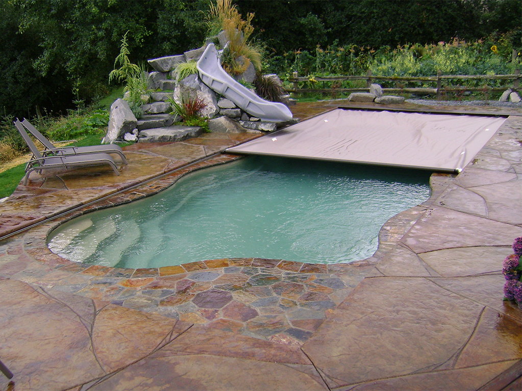 Free-form Pool with Deck-on-Deck Cover