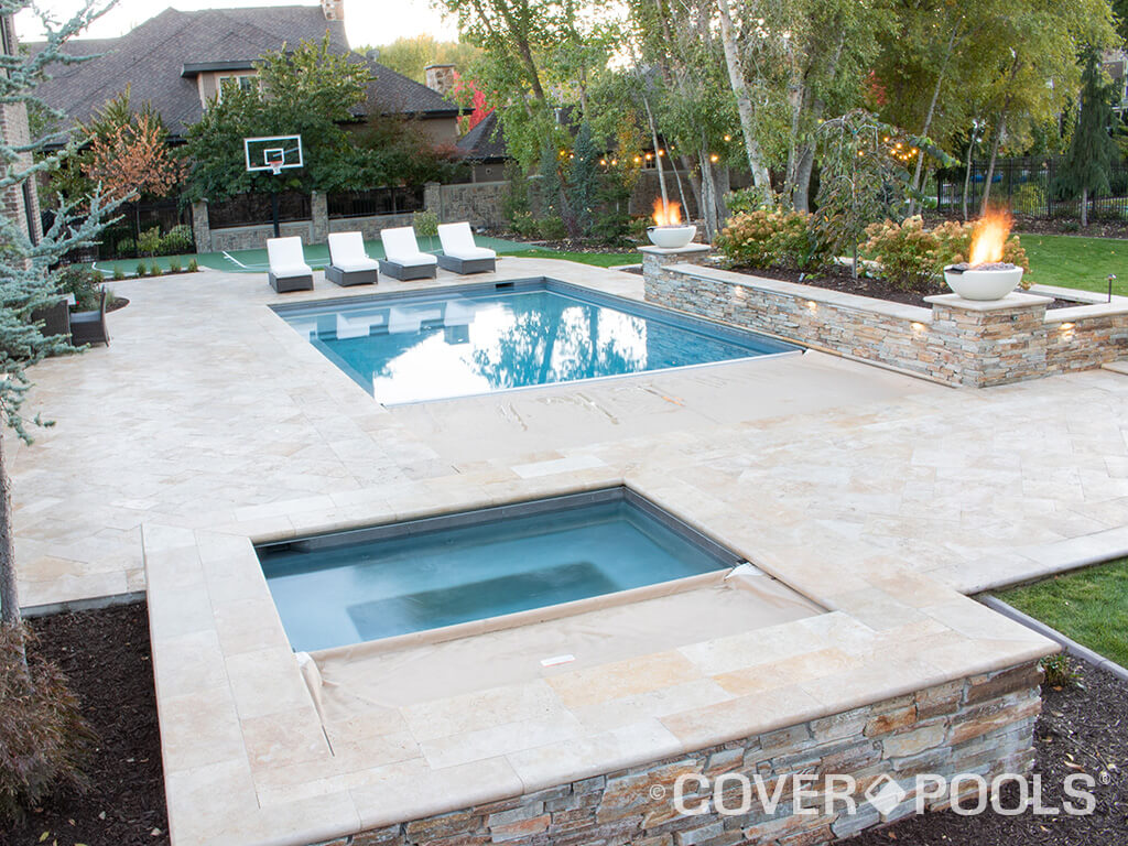tan automatic pool and spa cover fire feature